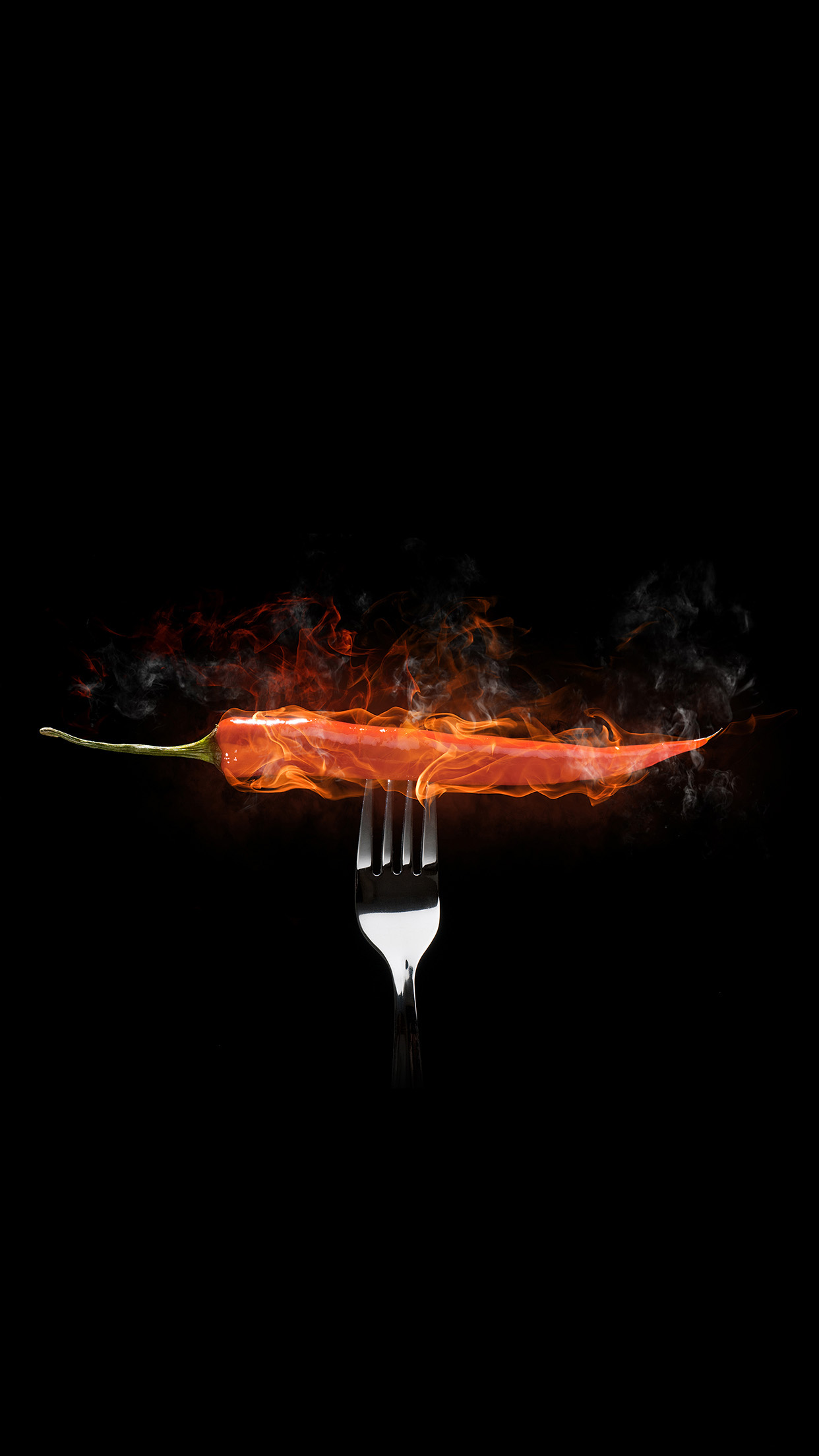 Red Hot Ghost Chili Pepper Flames Fork Illustration Android Wallpaper