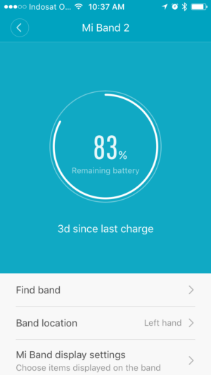 Mi Band 2 Battery via Mi Fit App